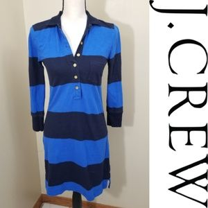 J. Crew Blue and Navy Striped T Shirt Dress XS